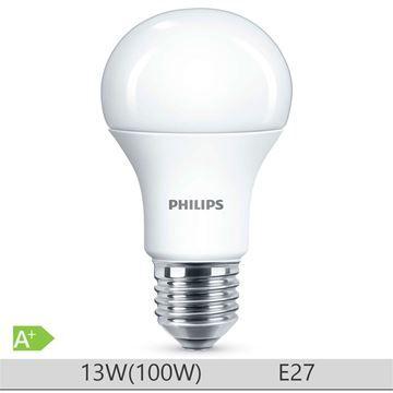 Bec LED Philips 13W E27, forma clasica A60, lumina neutra