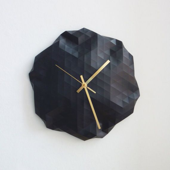 Faceted Wall Clock --- http://www.etsy.com/listing/104043968/faceted-wall-clock?ref=usr_faveitems&atr_uid=5960222