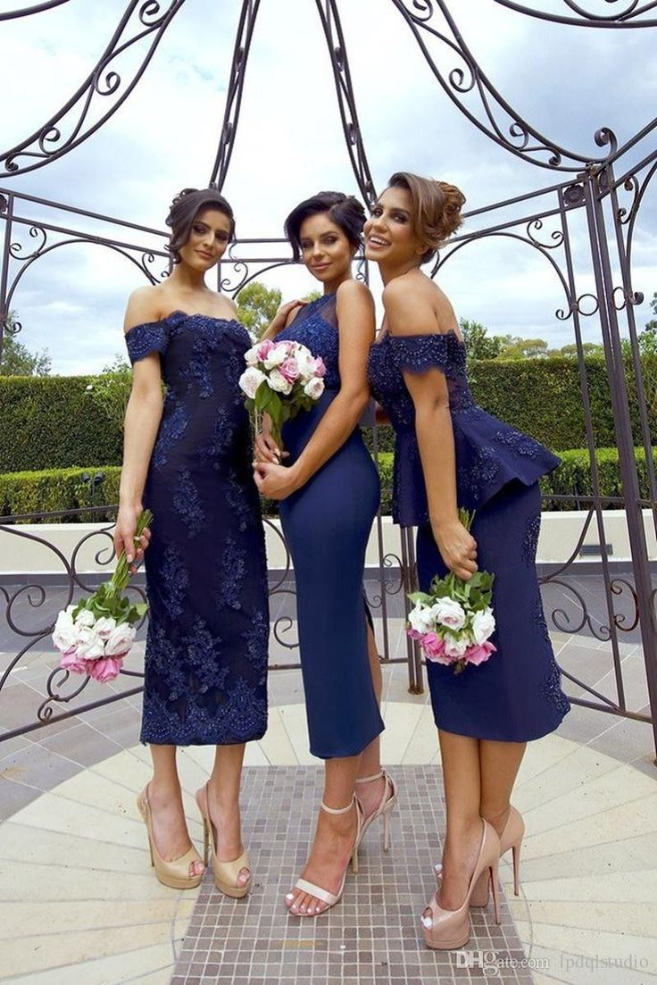 Sexy Navy Blue Bridesmaid Dresses Tea Length Wedding Party Dresses Floral Lace Applique with Beads Bridesmaid Gowns Cheap Bridesmaid Dresses Bridesmaid Dress Wedding Party Dresses Online with $119.0/Piece on Lpdqlstudio's Store | DHgate.com