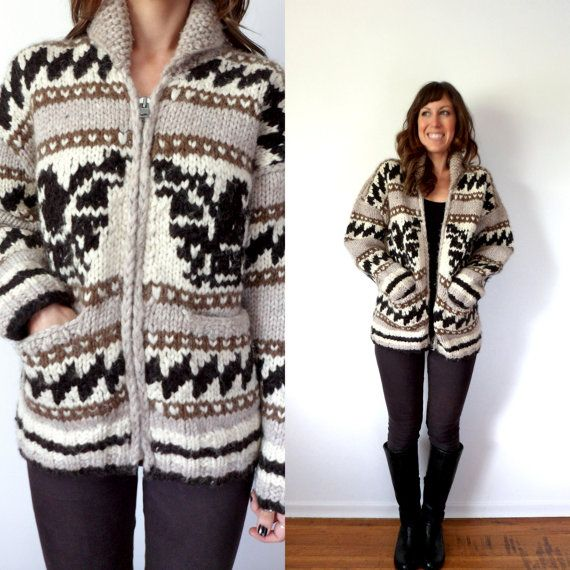Hand Knit Cowichan Zip Up Cardigan Sweater by TheVelvetMoon, $200.00