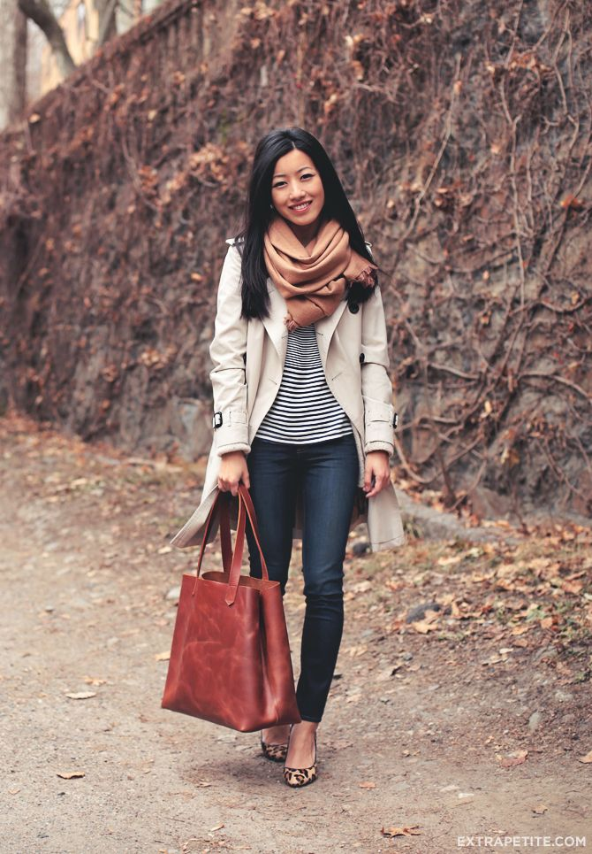 <closet staples> 1) trench coat 2) striped tee 3) dark skinny jeans 4) leopard pumps 5) camel scarf 6) leather tote. More outfit ideas at www.extrapetite.com