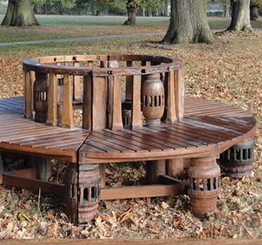 Reclaimed Teak Tree Bench   Reclaimed Teak Garden Furniture