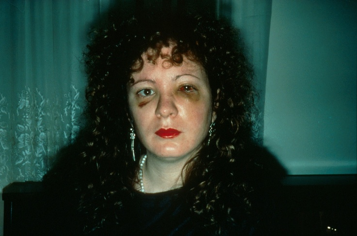 "Nan Goldin's ""One month after being battered"". Goldin seems to like the idea of capturing her mood at certain periods of life in her self portraits, rather than the ""make-up"" of her identity. She often uses assisting colours in her self portraits, to enhance the feelings she is experiencing."