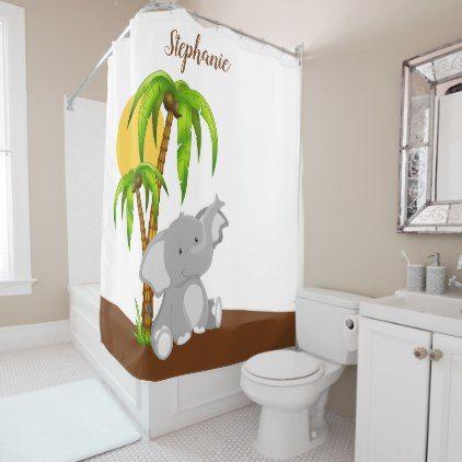 Cute Baby Elephant Shower Curtain - shower curtains home decor custom idea personalize bathroom