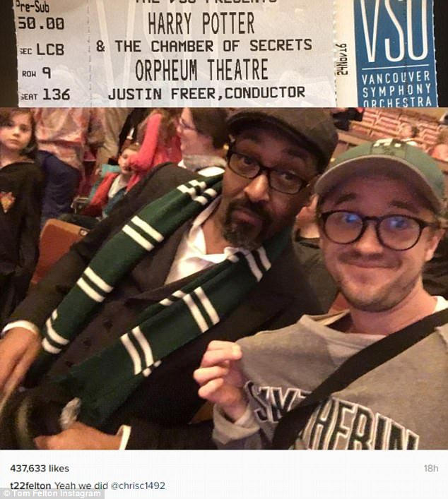 Undercover: Tom Felton swung by a screening of his 2002 blockbuster Harry Potter And The Chamber Of Secrets in Vancouver on Saturday with his The Flash co-star Jesse L. Martin