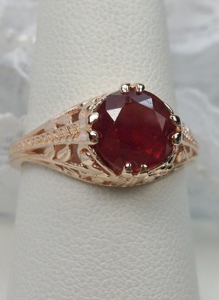 Natural Red Ruby 10k Rose Gold Floral Art Deco Filigree Ring Made To Order 159 Silverembracereproduct Antique Filigree Jewelry Filigree Ring Handmade Silver