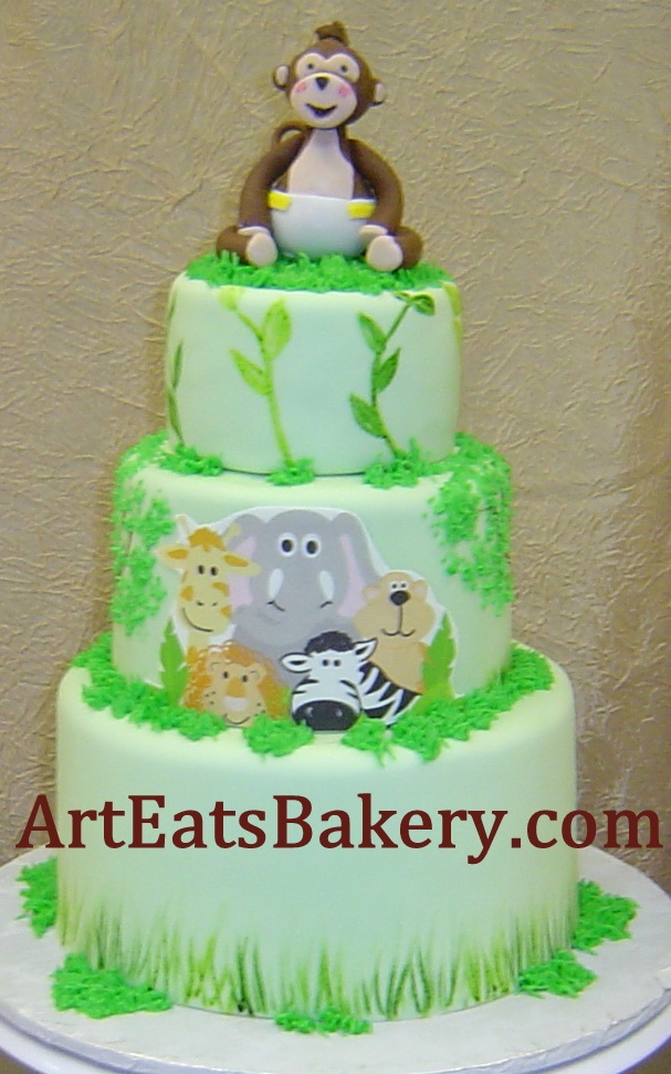 54 best images about custom unique baby shower cake designs on pinterest receptions baby - Baby shower cakes monkey theme ...