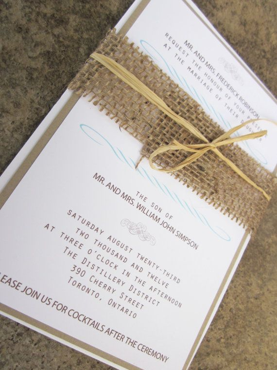 Modern Rustic Collection - Rustic Burlap Wedding Invitation Suite - by anista designs