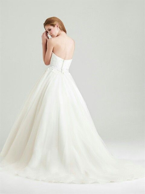 Pretty, Strapless Organza A-Line Wedding Gown Showcasing A Sweetheart Neckline & Lace Appliqued Bodice (Back View); by Allure Bridals Romance>>>>