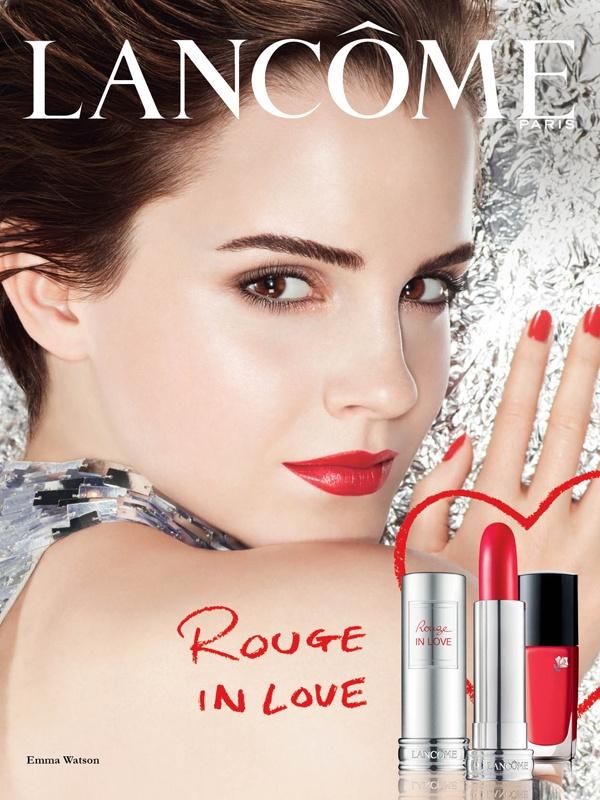Época Cométicos- a menina Emma Watson cresceu e apresenta a nova coleção da Lancôme: Rouge in love- ousada, jovem e sensual.