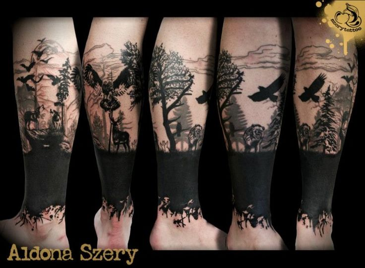 Mystical black ink wild life forest with owl and crow tattoo on leg