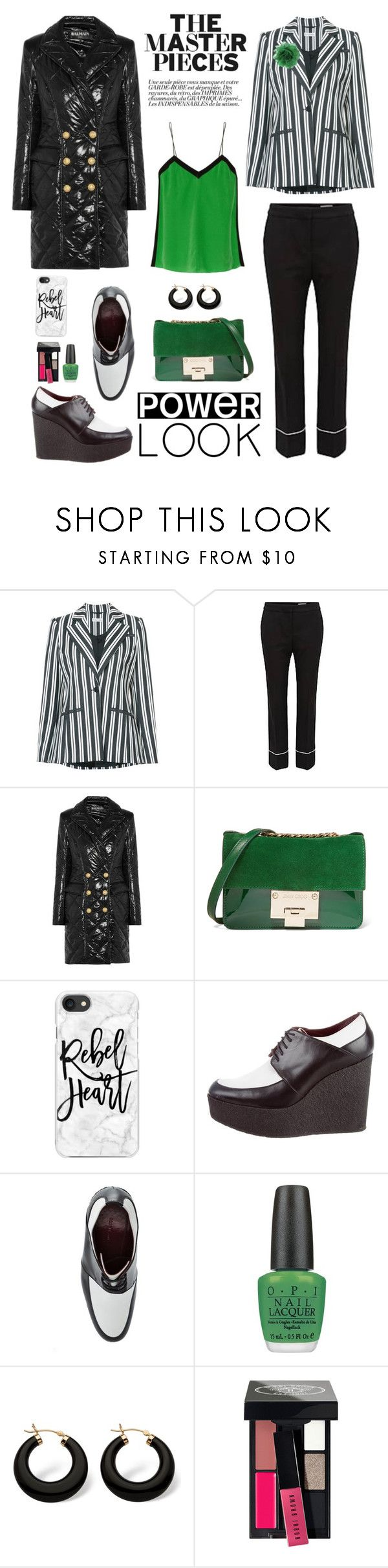 """""""Cool Power Look"""" by shortyluv718 ❤ liked on Polyvore featuring Altuzarra, HUGO, Balmain, Jimmy Choo, Casetify, CÉLINE, Palm Beach Jewelry and Bobbi Brown Cosmetics"""