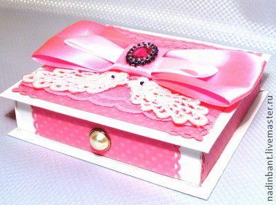 Коробочка для подарка Розовая с бантом - коробочка для подарка,подарок