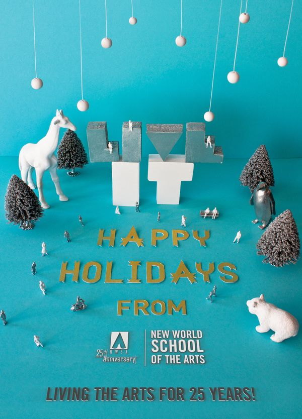 The holidays are here and couldn't be a better time to showcase our latest piece — a holiday greeting card created in collaboration with David Garcia and commissioned byThe New World School of the Arts  based in Miami, Florida.