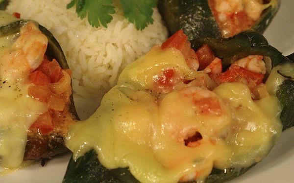 Chiles rellenos de camarones y queso - Cocina Vital