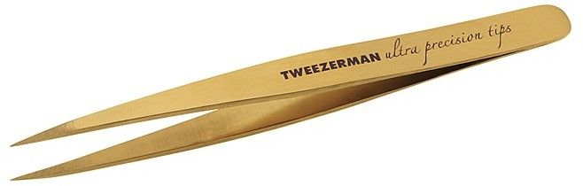 Tweezerman Ultra Precision Point Tweezer AD- Finely tapered points grab even the smallest and finest hairs with ease. Great for brows, ingrown hairs and splinters. Titanium Nitride (TiN) coated stainless steel for advanced durability and corrosion resistance.