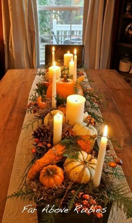 Thanksgiving table centerpiece ~ Gourds, Moss, Greenery and Candles