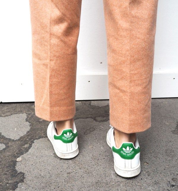 Acne studios pink milli trousers and adidas Stan Smith sneakers, a great casual outfit.
