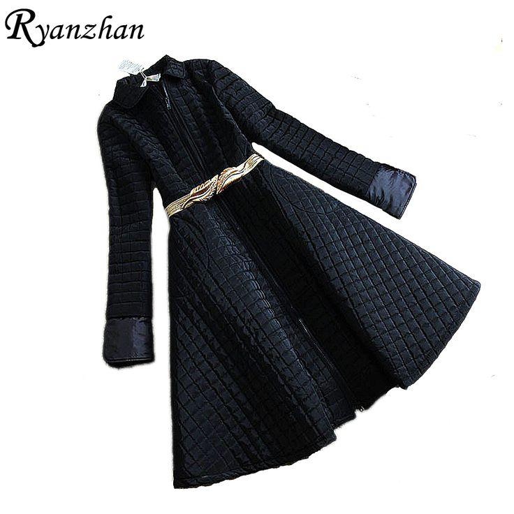 Ryanzhan Woman Parka Wadded Winter Jackets 2017 Spring New Winter Jacket Women Long Solid Skirt Cotton Down Coat Parkas Overcoat