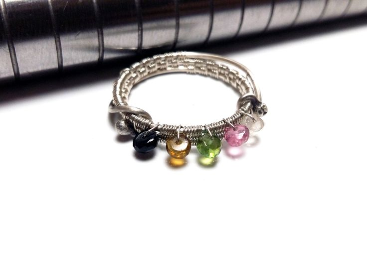 Wire Wrap Tourmaline Sterling Silver Ring Gemstone Sterling Silver Ring 925 Silver Ring with Tourmaline Multicolored Tourmaline Silver Ring by mssdelilah on Etsy