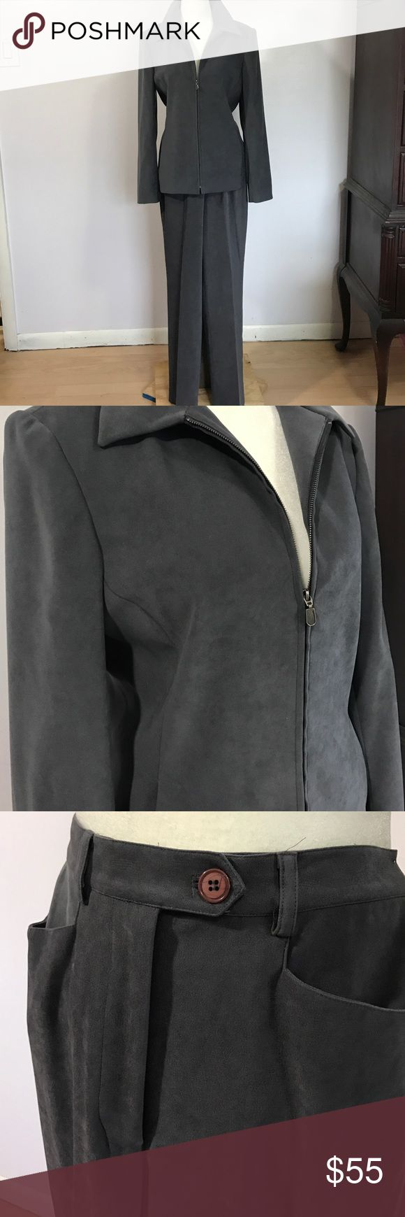 """Ladies Trousers NY Pant Suit- Sz 4 NWT Beautiful charcoal grey suit, brand new. Jacket has full front zipper & slanted front pockets - Armpit to armpit- 181/2"""". Length- 25"""".  High waisted pant has slanted front pockets & flat back pockets- Waist- 131/2"""". Inseam- 30""""💖💖 Suedelike poly/ spandex blend. Trousers Etc Pants"""