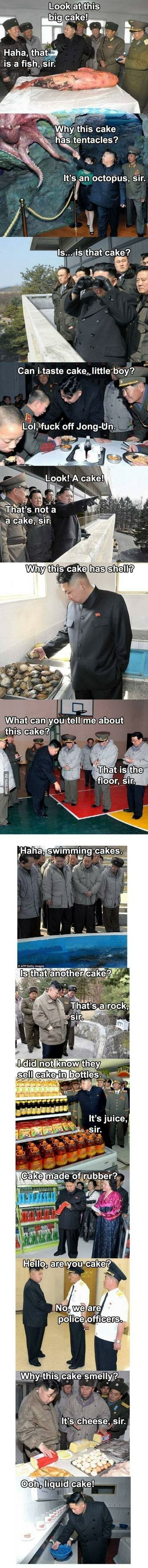 """Kim Jong Un explores the world (WTF IS THIS AND WHY IS IT SO FUNNY?!?) """"what can you tell me about this cake?"""" """"that is the floor, sir"""""""