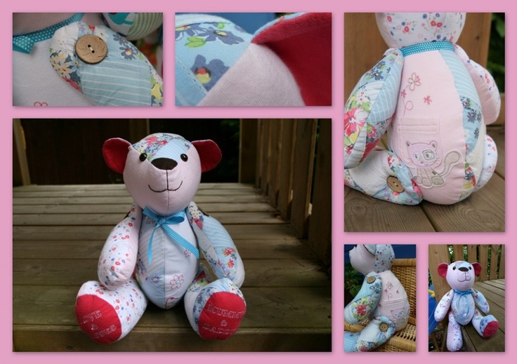 Turning baby clothes into a keepsake bear - awesome idea!!! Patchwork Bear by Cwtch & Cherish