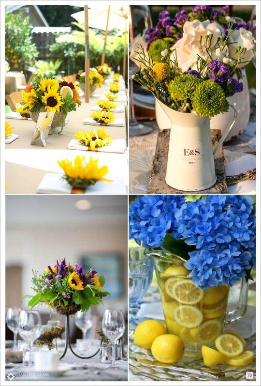 decoration mariage provence centre de table fleur tournesol citron
