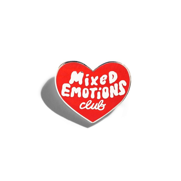 For the proud badge carrying member of the Mixed Emotions Club™.  Choice of red or black hard enamel that lays flush...