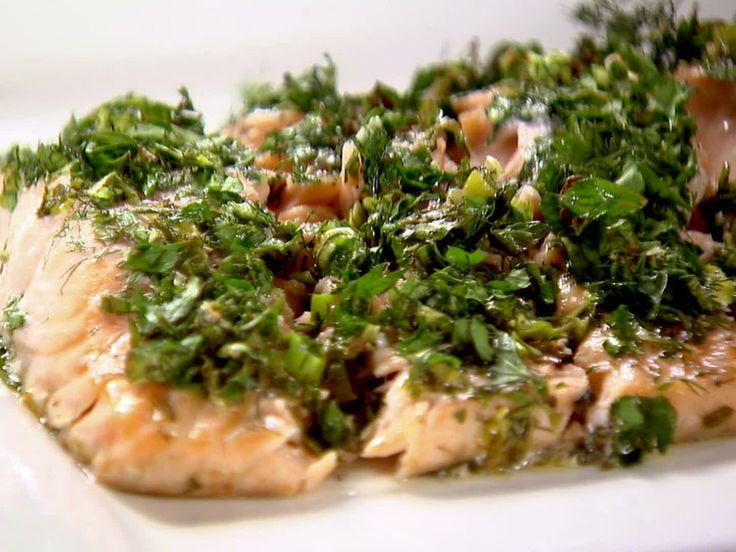 Roasted Salmon with Green Herbs Recipe : Ina Garten : Food Network