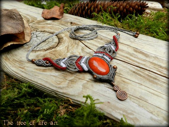 Magical macrame necklace with Red Jasper stone & copper beads/Tribal macrame/Ethnic Jewelry/Festival Jewelry/Spiral necklace/Micromacrame