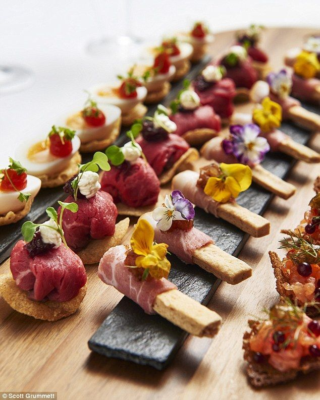 Canapes (from left to right): Quails eggs, Rare Aberdeen Angus roast beef, ham and onion breadsticks and smoked salmon tartar. The canapes are made using fresh and seasonal British produce