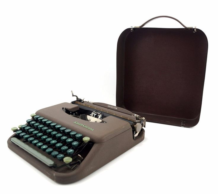 Add this Smith Corona Skyriter typewriter from 19349 to your collection! This typewriter was made in 1949 and was designed to fit under the seat in a typical ai