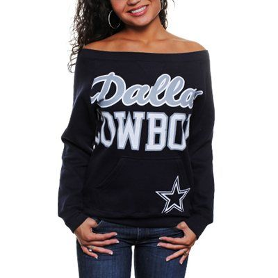 #Fanatics Dallas Cowboys Ladies Joy Crew Fleece Sweatshirt - Navy Blue