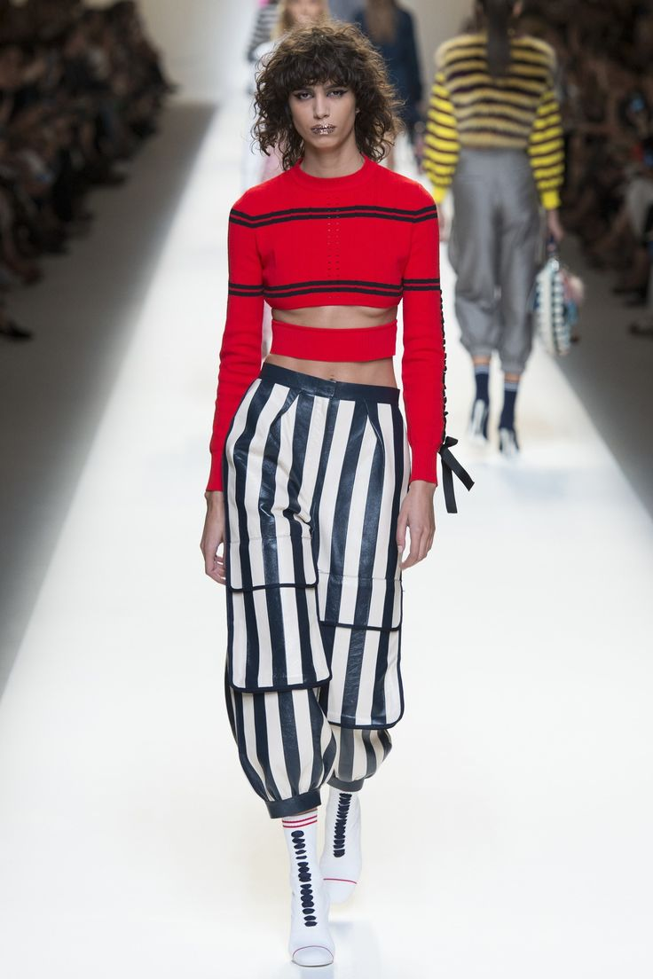 Fendi.  Note: Really drawn to this outfit.  Both the colors, and the combination of stripes in a non-nautical way.  Also the cut out is interesting, would like to try to DIY something similar.