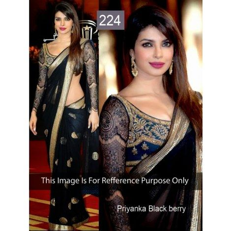 Priyanka Chopara In Black Color Patch Lace Border Work net Saree With Blue Color Work Row Silk Blouse & Designer Black Color Full sleev In B...