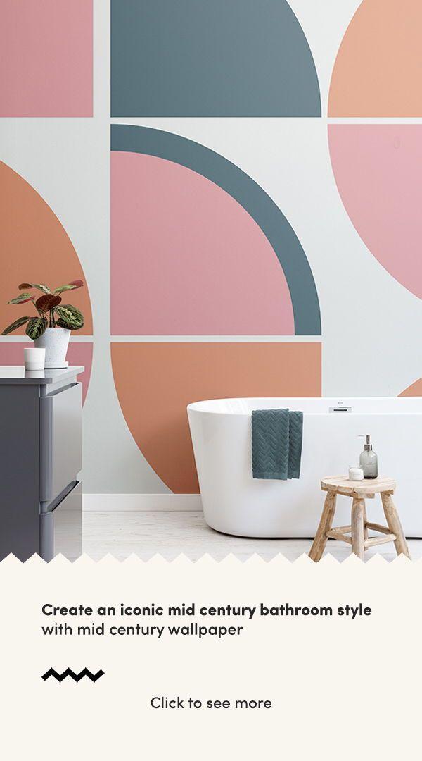 Pink Retro Geometric Wallpaper Muralswallpaper In 2020 Mid Century Wallpaper Mid Century Modern Wallpaper Small Bathroom Decor