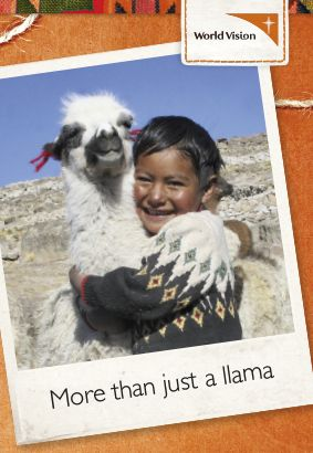 Five-year-old Elvys from Peru is fond of his family's llama who helps transport heavy loads of food and water for the family.