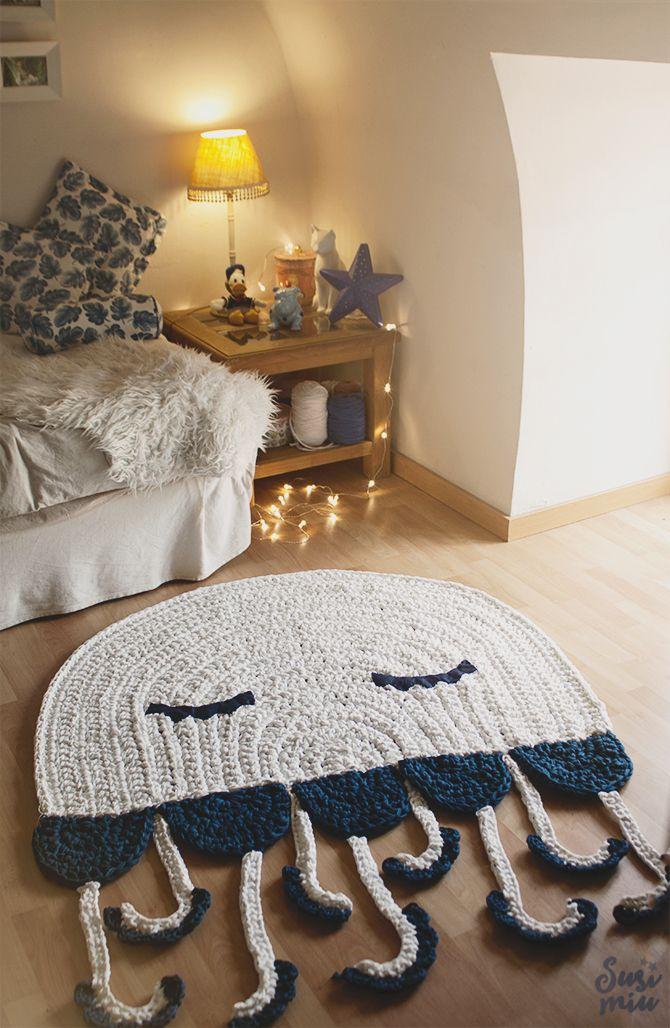 Alfombra Medusa /Jellyfish Crochet Rug www.susimiu.es                                                                                                                                                      Más