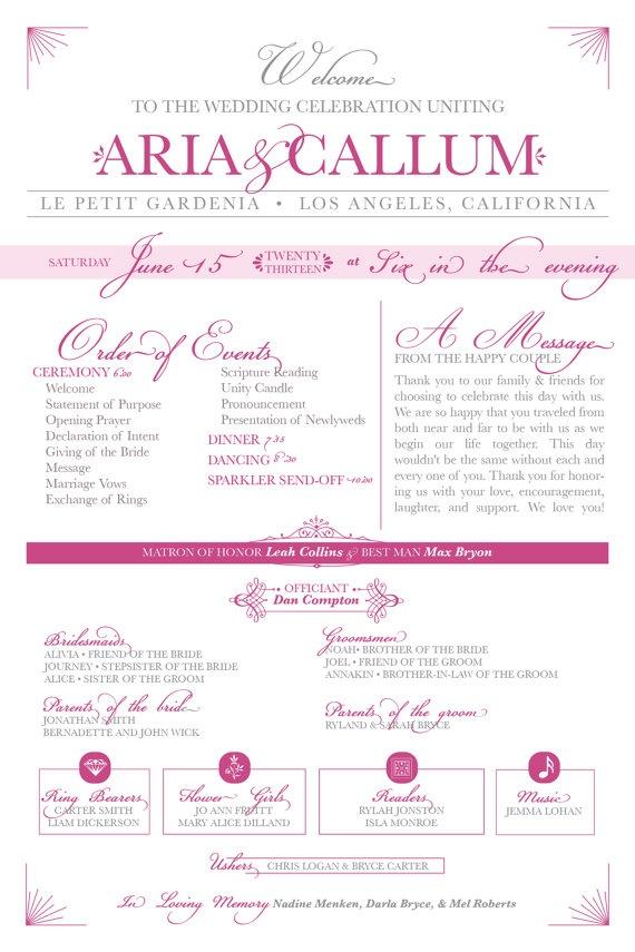 I Like The Font Contrast Elegant Wedding Program OnePage Event By Alley9CreativeStudio