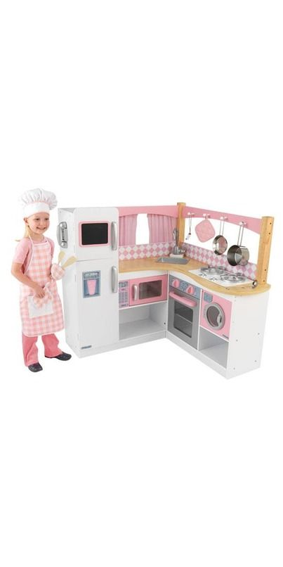 KidKraft's Grand Gourmet Corner Kitchen will make any kid feel like a world-class chef! This deluxe