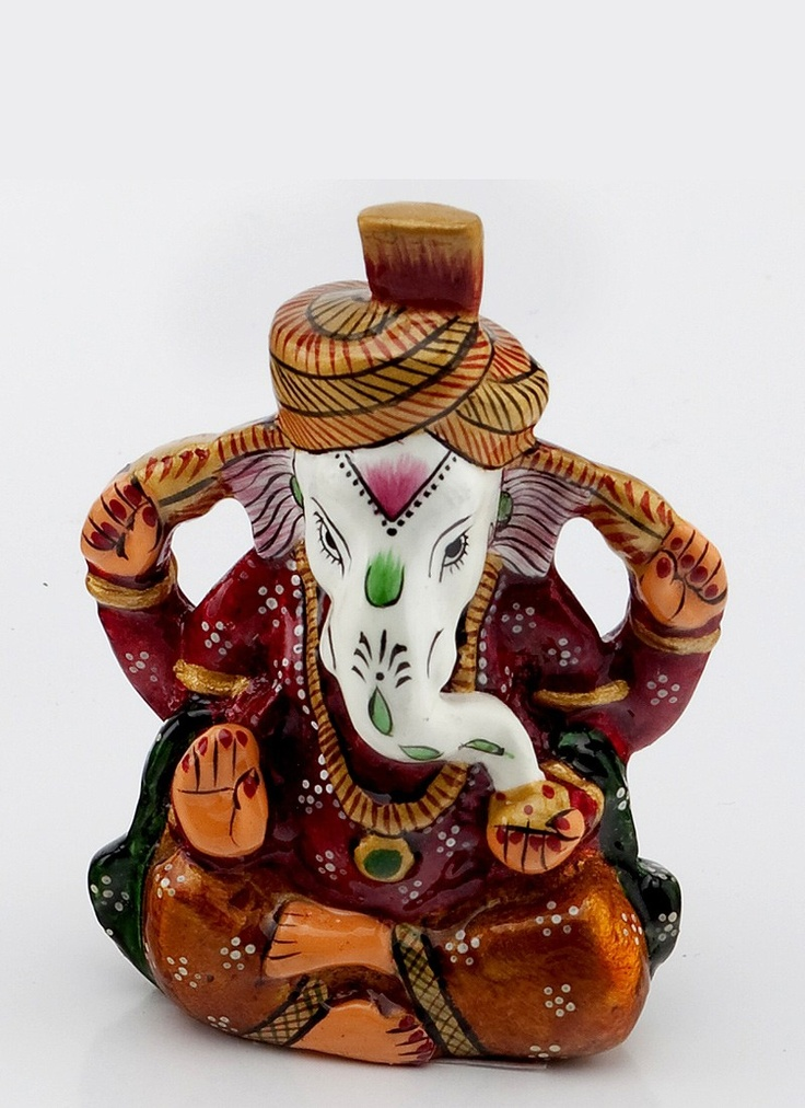 Beauteous and Painted Enamelled Metal Ganapati