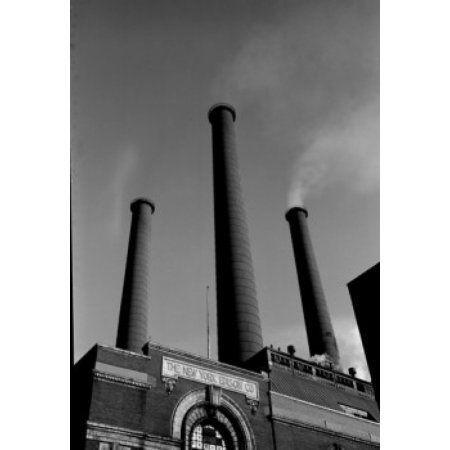 USA New York City Smokestacks of Consolidated Edison Power Plant Canvas Art - (24 x 36)