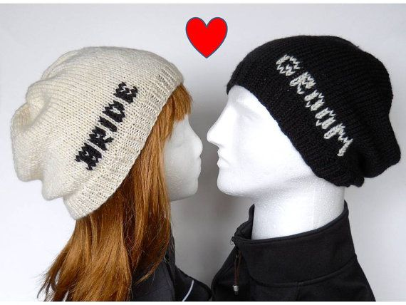 Bride and Groom Beanie Set, Slouchy Beanies for Wedding Photos Props and Honeymoon Wear, Wedding Beanies for Ski, Snowboard, Hipster Wedding on Etsy, $50.00