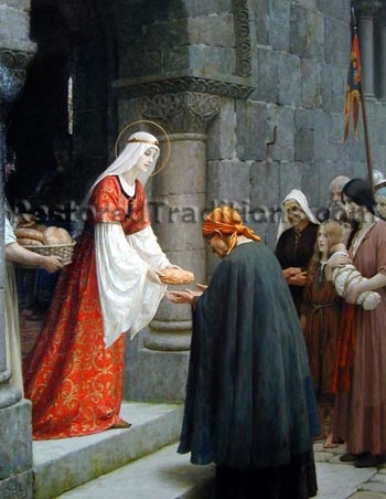Artist: Edmund Blair Leighton (1853-1922)    Title: Charity of Saint Elizabeth of Hungary           St. Elizabeth was the daughter of the King of Hungary in the 13th century.           She is also called Saint Elizabeth of Thuringia and is the patroness of            bakers, brides, widows, countesses and the poor or homeless.    Style: English Pre-Raphaelite