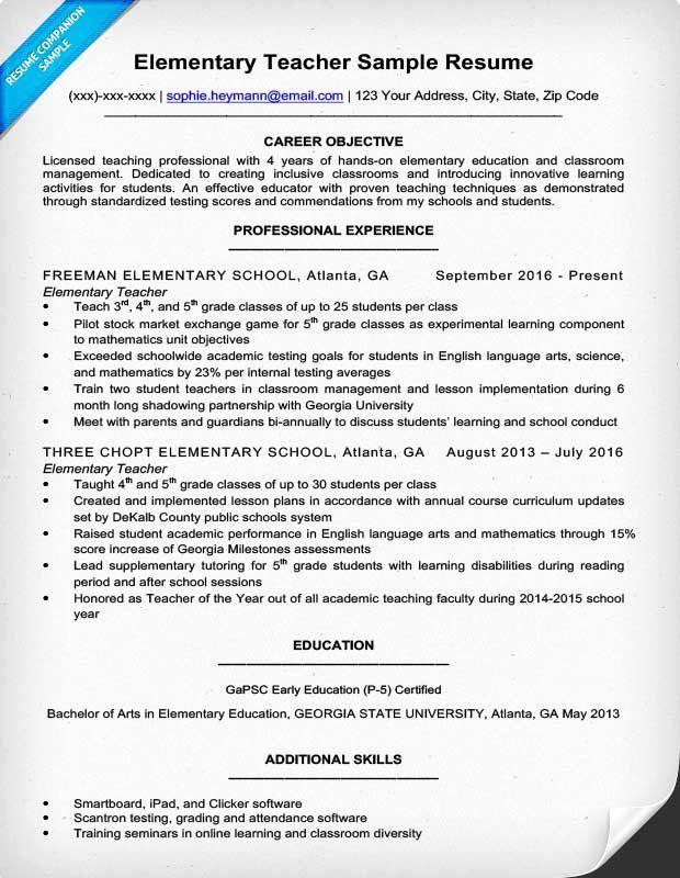 Free Sample Resume For Teachers Lovely Elementary Teacher Resume Sample Writing Tips Teacher Resume Template Teacher Resume Elementary Teacher Resume