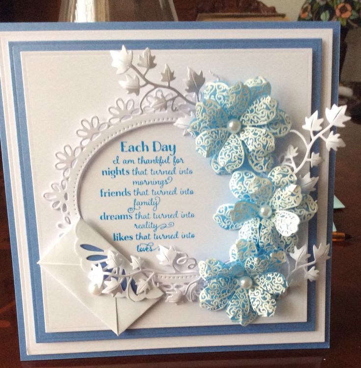Card made by Martine using Spellbinders Flower play stamp and dies