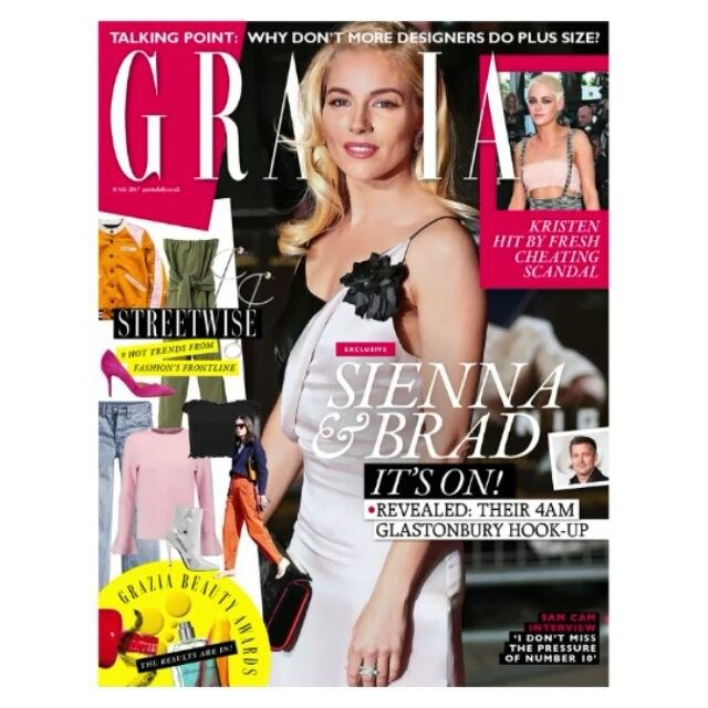 In this weeks Grazia: two months ago Sienna was quick to dismiss her relationship with Brad but our Glastonbury backstage spies tell a different story as we reveal all about Sienna and Brads 4am hook-up. In other news we explore the Paris districts that arent safe for women and hail new Vetements fashion icon Jeremy Corbyn (or should we say Jezments).And in an exclusive open letter to Grazia readers 96-year-old It girl Robin Dalton tells all. In fashion you wont put a foot out of place with…