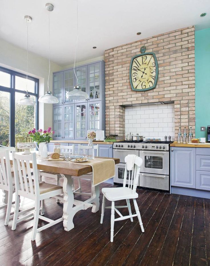 Quirky and unusual accessories, such as the Alice in Wonderland-inspired clock look fantastic in a family kitchen-diner.
