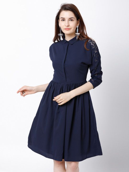 34ace15a0bd9 Tokyo Talkies Women Navy Blue Solid Fit and Flare Dress - | 619 ...